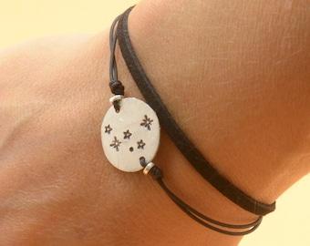 Sterling silver cassiopeia constellation Hand stamped adjustable cord bracelet.Women or Mens bracelet