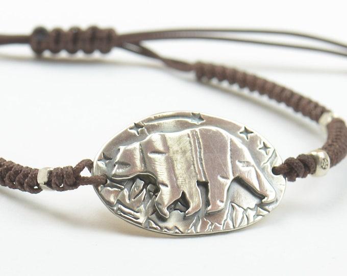 Bear bracelet.Artisan Sterling silver stars,mountain bracelet.Unique exclusive nature, Handmade Metalsmithing
