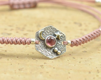 Sterling silver and pink tourmaline gemstone, moon, stars bracelet.Artisan unique Bead.Handmade rustic bead statement one of a kind