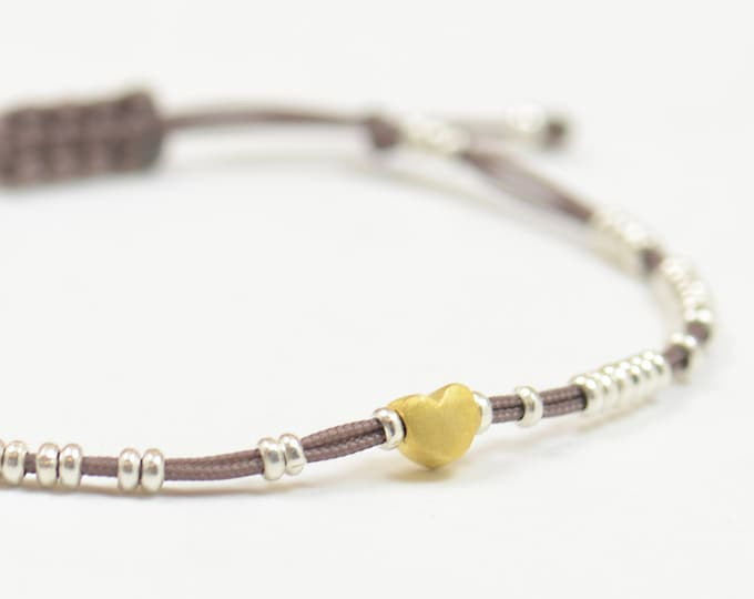 Sterling silver tiny beaded bracelet with gold vermeil heart -Beaded bracelet-Hoops bracelet