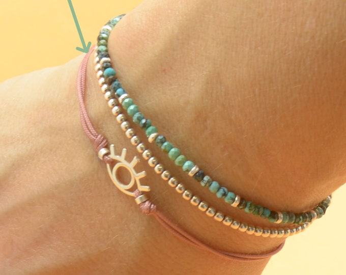Eye sterling silver charm bracelet