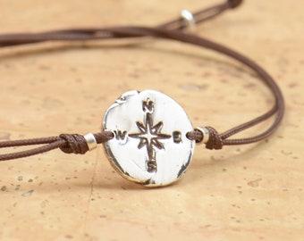 Sterling Silver Compass charm bracelet. Mens bracelet.Womens bracelet.Wind Rose.Fine Silver artisan bead