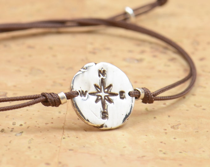 Sterling Silver Compass charm bracelet. Mens bracelet.Womens bracelet.Wind Rose.Fine Silver artisan bead