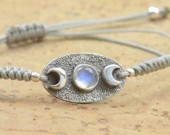 Moonstone bracelet sterling silver, moon bracelet.Artisan unique Bead.Handmade rustic bead statement one of a kind
