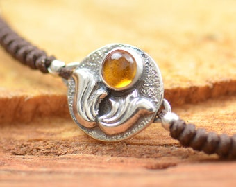 Sterling silver and genuine citrine gemstone, moon, sun bracelet.Artisan unique Bead.Handmade rustic bead statement one of a kind
