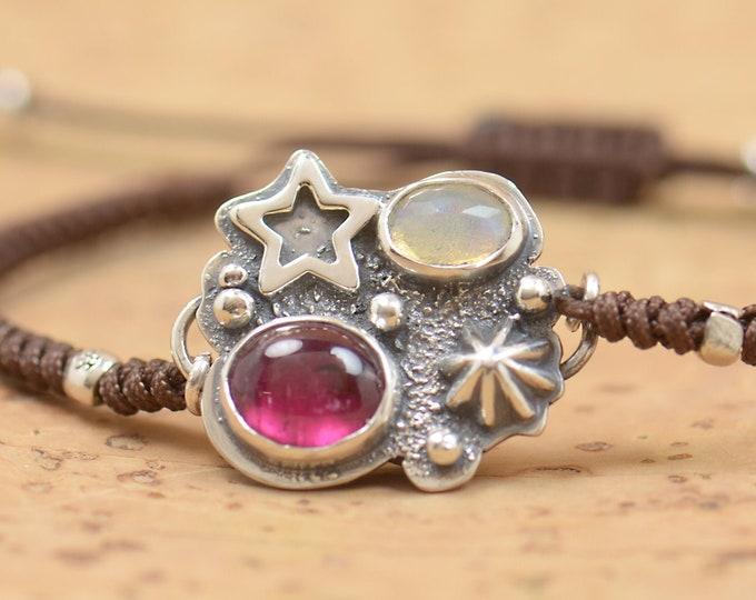 Artisan handmade pink tourmaline and Ethiopian Opal bracelet.Gemstone setting Metalsmithing silversmith.Unique piece.Star Universe