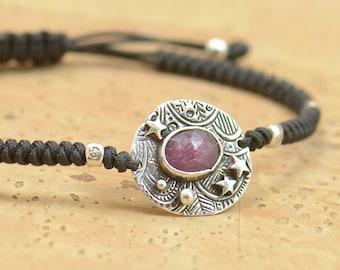 Sterling silver ruby gemstone, moon, stars bracelet.Artisan unique Bead.Handmade rustic bead.Metalsmithing metalsmith silversmith