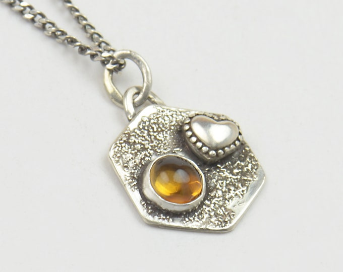 Citrine and sterling silver raw pendant. Artisan heart pendant nature.Unique.Sterling silver.Metalsmithing.One of a kind rustic pendant