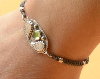 Peridot bracelet.Artisan Sterling silver flowers,heart,nature bracelet.Unique exclusive rustic.Green Peridot Gemstone.Handmade Metalsmithing