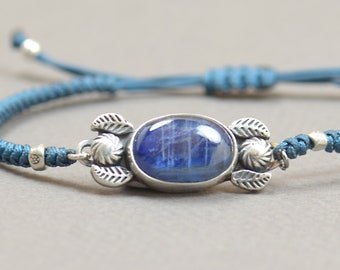 Unique Piece-Blue Kyanite artisan handmade bracelet.Sterling silver.Silver bezel.Gemstone setting Metalsmithing silversmith metalsmith