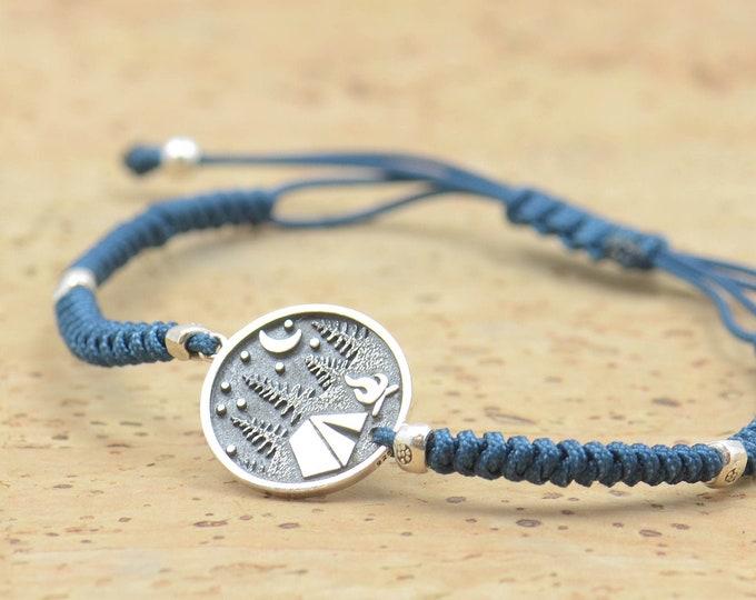 Sterling silver camping mountain charm bracelet.Unisex climbing bracelet.Snake knot braided cord.Cottage.Waterproof bracelet.Nature