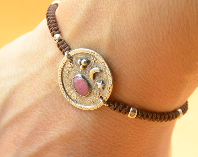 Sterling silver Pink  Tourmaline gemstone,moon, stars bracelet.Artisan unique Bead.Handmade rustic bead.Metalsmithing metalsmith silversmith