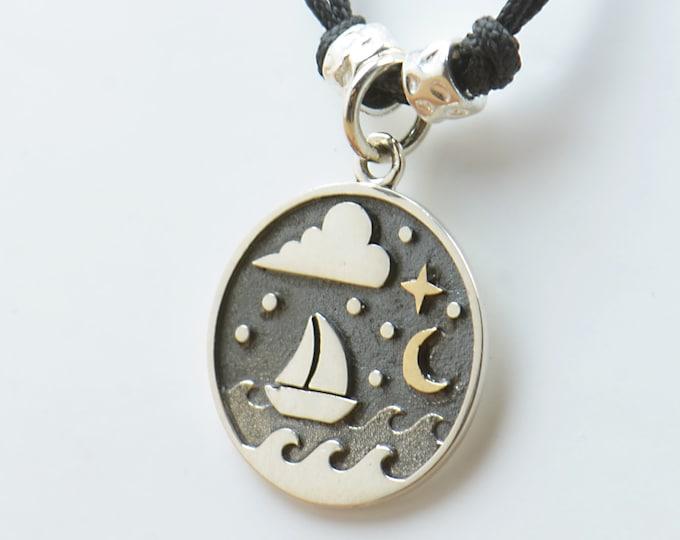 Necklace Sterling silver waves sea ocean ship charm pendant night stars moon windsurf Men or women Surf