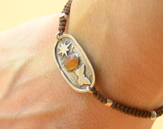 Sterling silver and Orange Tourmaline gemstone,moon, butterfly bracelet.Artisan unique Bead.Handmade rustic bead.Metalsmithing metalsmith