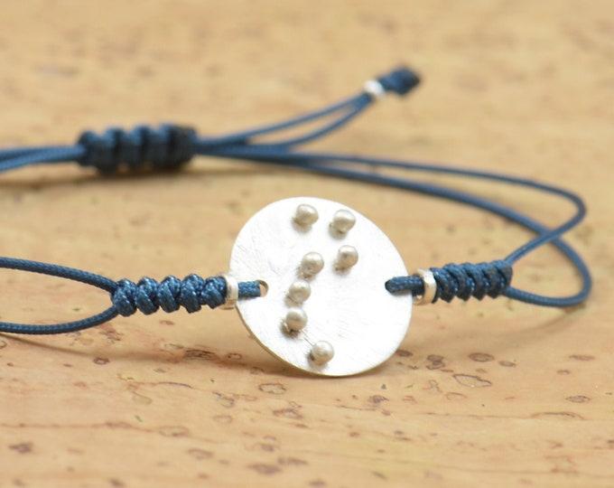 Sterling silver Ursa Major constellation Hand stamped adjustable cord bracelet.Women or Mens bracelet .Zodiac Jewelry