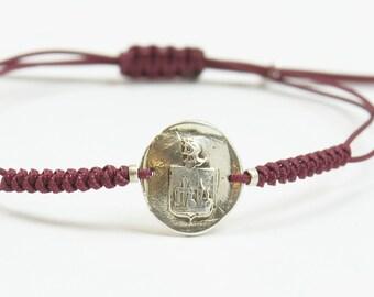 Sterling silver Vintage Wax seal Medieval Middle ages artisan handmade bead bracelet.Rustic.Heraldry,heraldic bracelet Castle crown armor