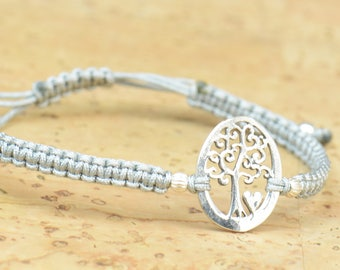 Sterling silver tree of life heart bracelet.karma bracelet,nature,animals,Earth bracelet.