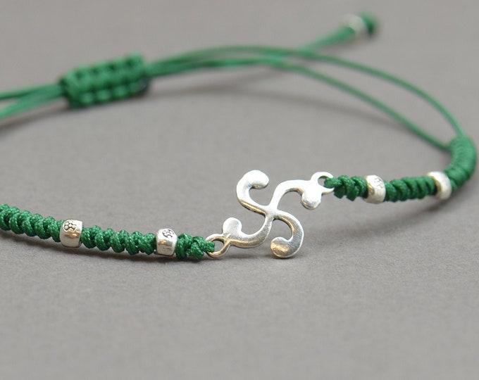 Celtic triskel sterling silver bracelet.Men or women.Vasque Lauburu