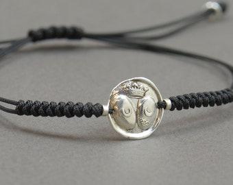 Sterling silver Vintage Wax seal moon Medieval Middle ages artisan handmade bead bracelet.Rustic.Heraldry,heraldic bracelet Castle crown