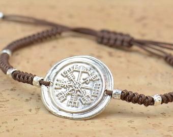 Vegvisir Viking Bracelet from Huld Manuscript Galdrastafir Magic Symbols and Runes,Rune Jewelry,Pagan.Artisan handmade sterling silver bead