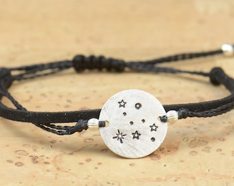 Sterling silver constellation zodiac Hand stamped adjustable cord bracelet,choose your constellation.Women or Mens bracelet.Zodiac Jewelry