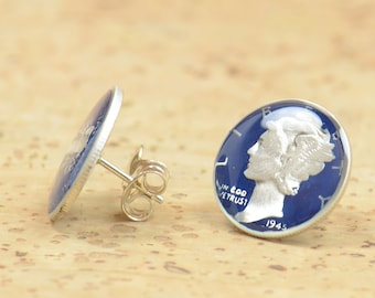 Earrings mercury silver dime coin United States.Women stud earrings accessories jewelry coin.Enamel coin