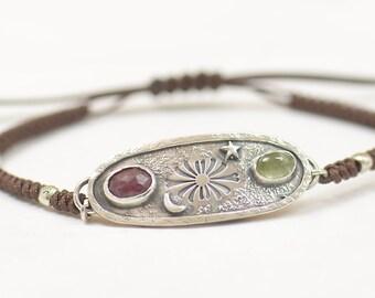 Artisan handmade Ruby and Green Tourmaline bracelet.Gemstone setting Metalsmithing silversmith.Unique piece.Star Universe.Moon Bracelet