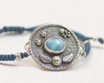 Larimar bracelet.Artisan Sterling silver flowers leafs stars planets universe.Unique exclusive rustic.Blue Gemstone.Handmade Metalsmithing