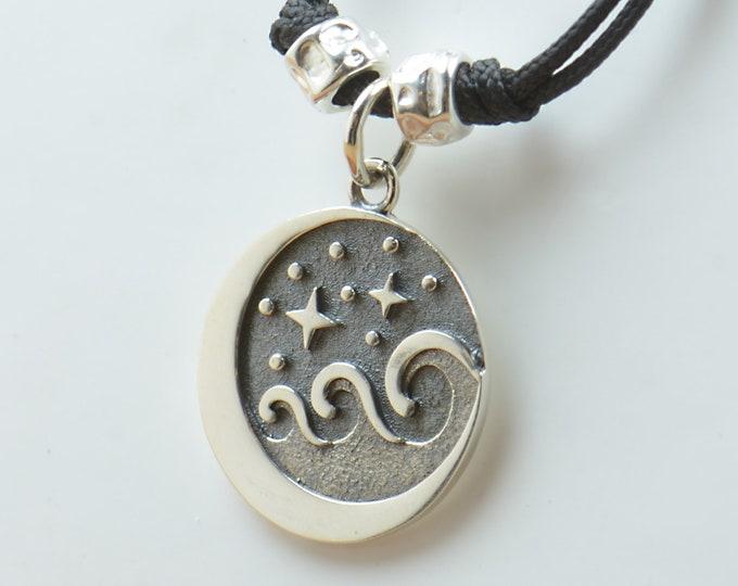 Necklace Sterling silver waves sea ocean charm pendant night stars windsurf Men or women Surf