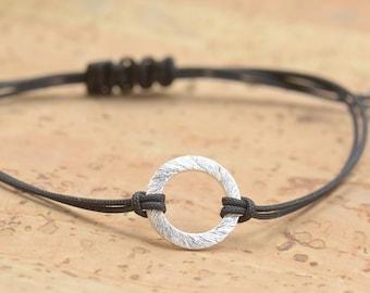 Sterling Silver Karma bracelet . friendship .