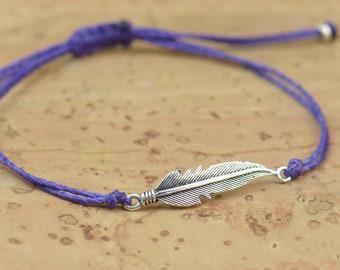 Sterling silver feather charm bracelet - Sterling silver. Mens or women bracelet