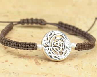 SALE-Sterling silver OM bracelet.Kabbalah,karma,growing,yoga bracelet.Nature life earth universe