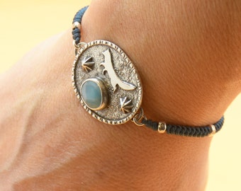 Larimar bracelet.Artisan Sterling silver flowers Wolf.Unique exclusive rustic.Blue Gemstone.Handmade Metalsmithing
