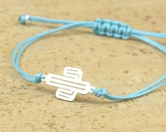 Sterling silver Cactus charm bracelet.Mens or womens bracelet.Sterling silver bead