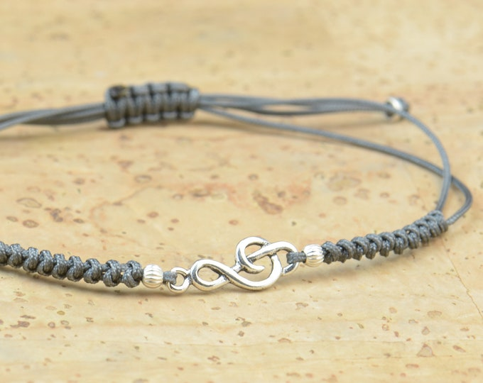 Sterling silver music note charm  bracelet.Snake knot.Gift for him, gift for her.