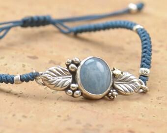 Aquamarine bracelet.Artisan Sterling silver flowers,heart,nature bracelet.Unique exclusive rustic.Blue Aquamarine.Handmade Metalsmithing