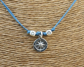 Sterling silver Compass charm necklace pendant-Sterling silver.Mens or women