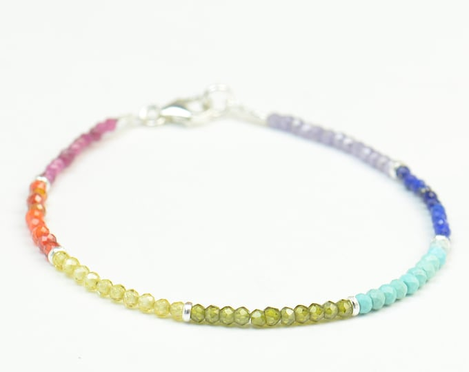 Rainbow 7 chakras gemstones beads and sterling silver beads bracelet.Gemstones bracelet.womens bracelet