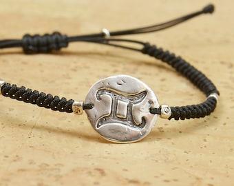 Sterling silver Zodiac bracelet.Artisan Bead. Fine Silver.Zodiac Jewelry.Cord Jewelry.Horoscope,Constellation.Mens bracelet