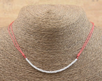 Sterling silver beads necklace pendant-Adjustable.Mens or women.Durable
