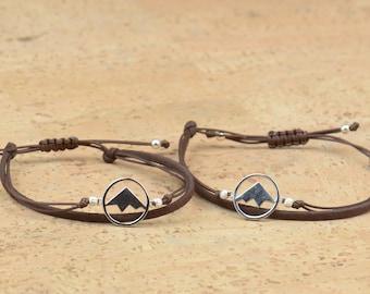 Bracelet for couples.Sterling silver Mountain Bracelet.Bracelet set.Durable.Set of 2.His hers men women gay.Couples jewelry.Choose color.BBF