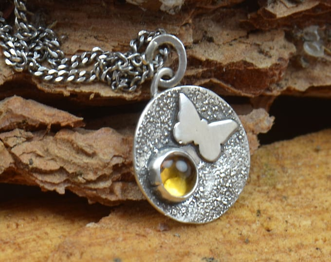 Citrine and sterling silver raw pendant. Artisan butterfly pendant nature.Unique.Sterling silver.Metalsmithing.One of a kind rustic pendant