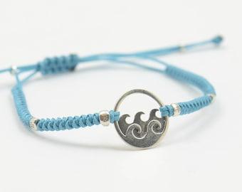 Sterling silver wave windsuf charm bracelet-Sterling silver.Mens bracelet.Snake knot braided woven