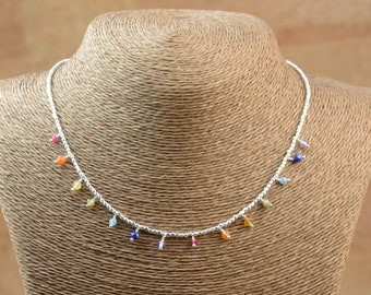 7 Chakras and sterling silver beads necklace.Planets necklace.Galaxy.Multigemstones.7 Chakras necklace. Rainbow necklace