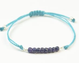 Gemstones and thread bracelet.Sterling silver wire.Gemstones,thread,cord adjustable bracelet