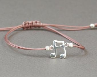 Sterling silver  music note charm  bracelet