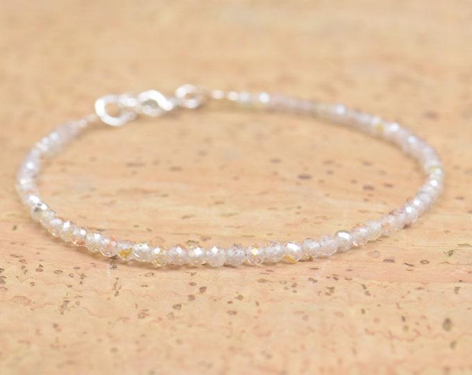 Moonstone bracelet.Tiny beads.Boho bracelet.Simple minimalist moonstone tiny faceted beads