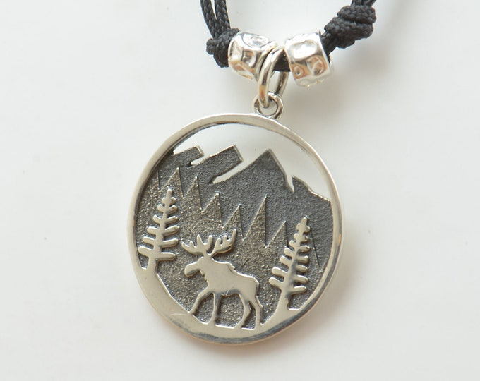 Sterling silver Mountain moose charm necklace pendant-Camping.Men or women.Night moon trees stars