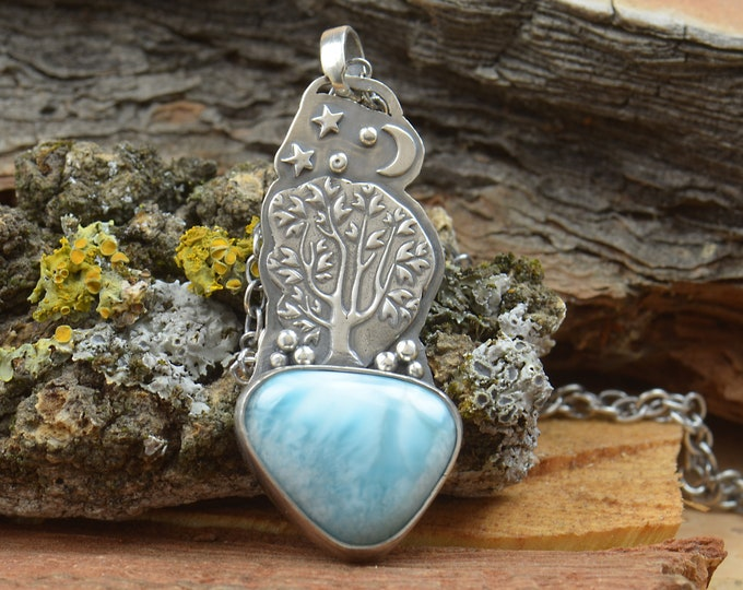 Larimar and sterling silver bear tree star moon pendant. Artisan tree of life necklace.Unique.Gemstone.Metalsmithing.One of a kind