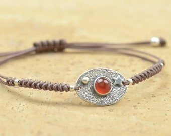 Sterling silver and carnelian gemstone, moon, stars bracelet.Artisan unique Bead.Handmade rustic bead statement one of a kind